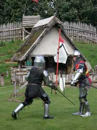 Knights battle at the castle